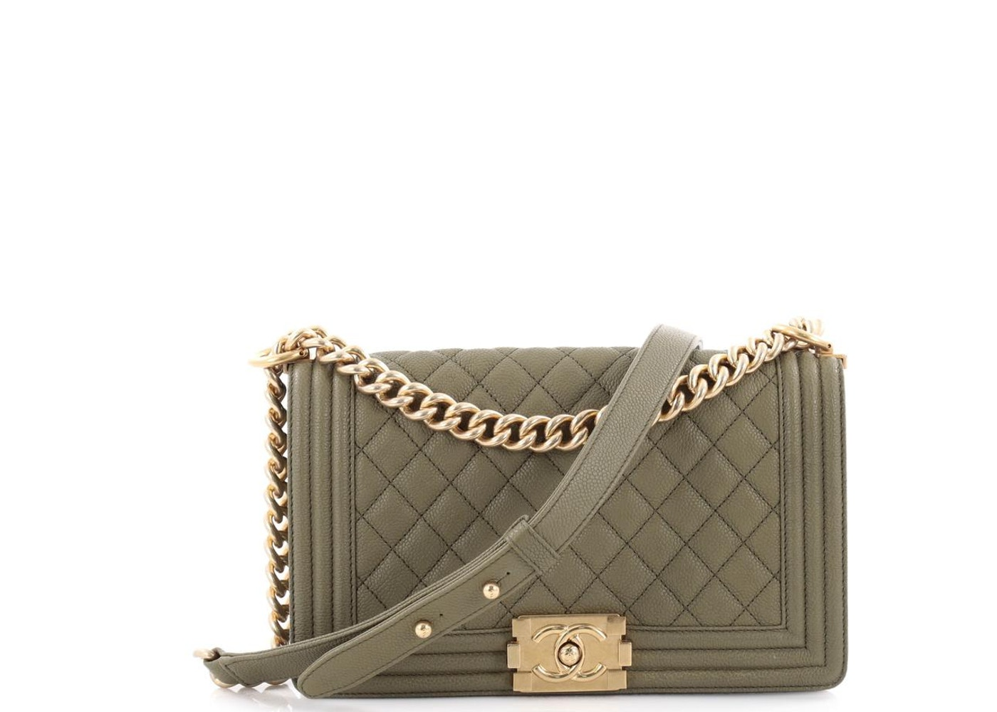 a04043560818 Chanel Boy Flap Diamond Quilted Old Medium Green
