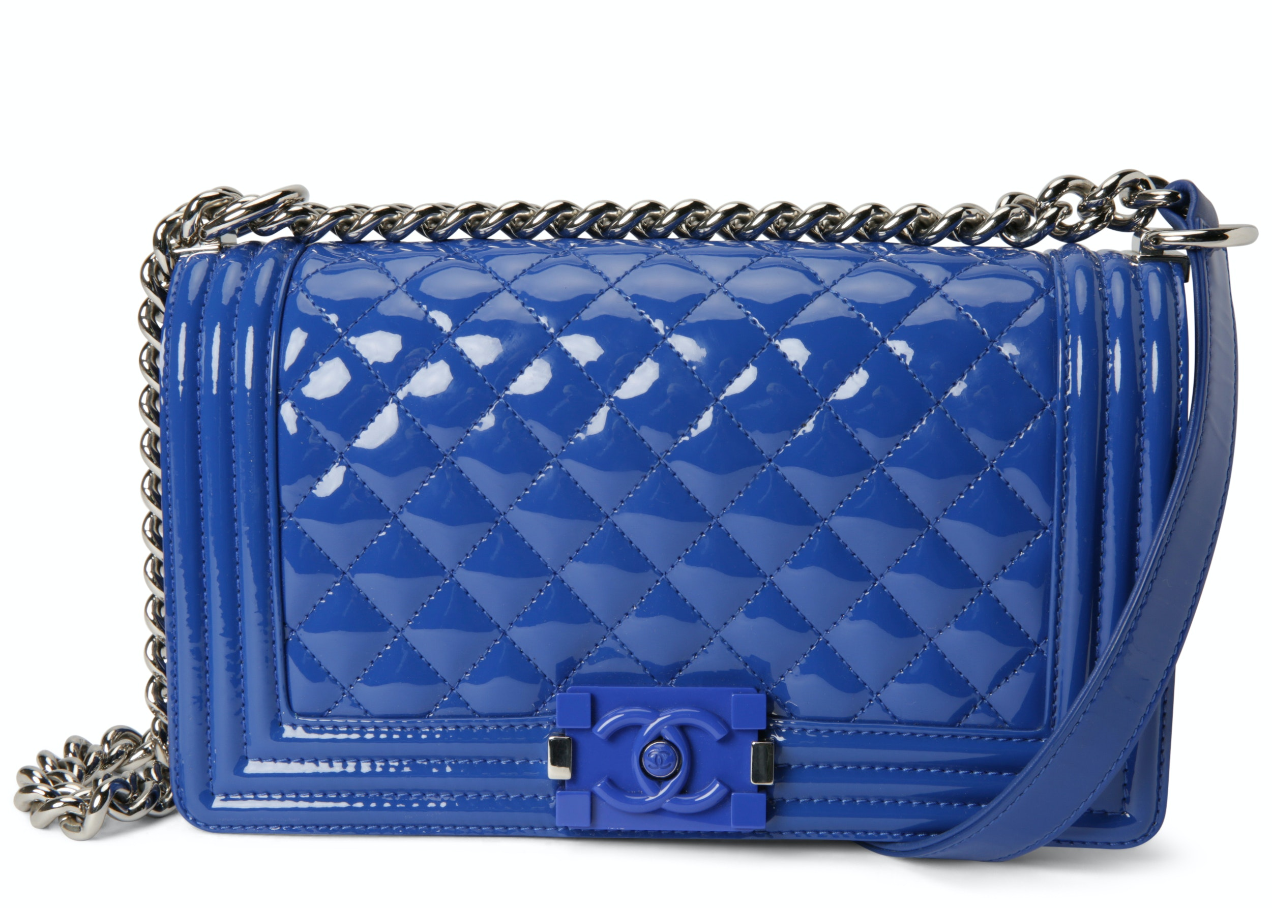 Chanel Boy Flap Quilted Old Medium Royal Blue