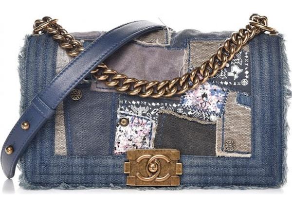 351a561795cd Chanel Flap Boy Patchwork Denim Aged Gold-tone Medium Blue