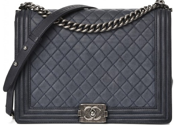 a33946aa50fb Chanel Flap Boy Quilted Iridescent Caviar Ruthenium-tone Large Navy Blue