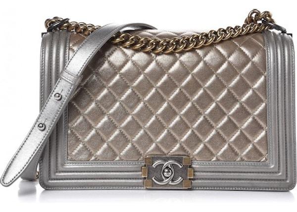 b0f04dd22b7ccd Chanel Flap Boy Quilted Metallic Caviar Silver/Gold-tone New Medium Khaki