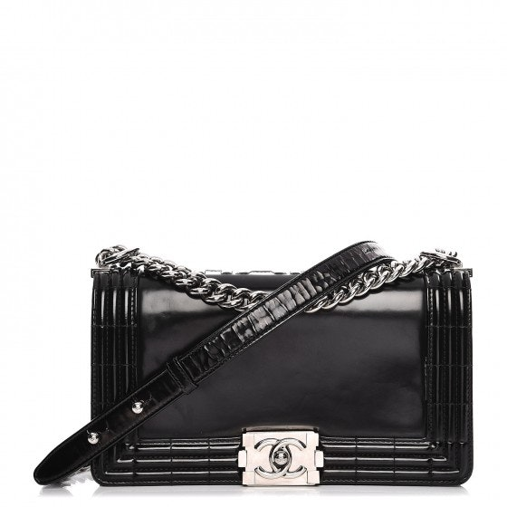 Chanel Boy Reverso Flap Glazed Medium Black