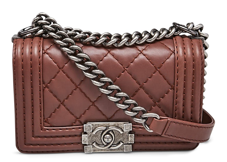 Chanel Boy Flap Quilted Diamond Small Brown