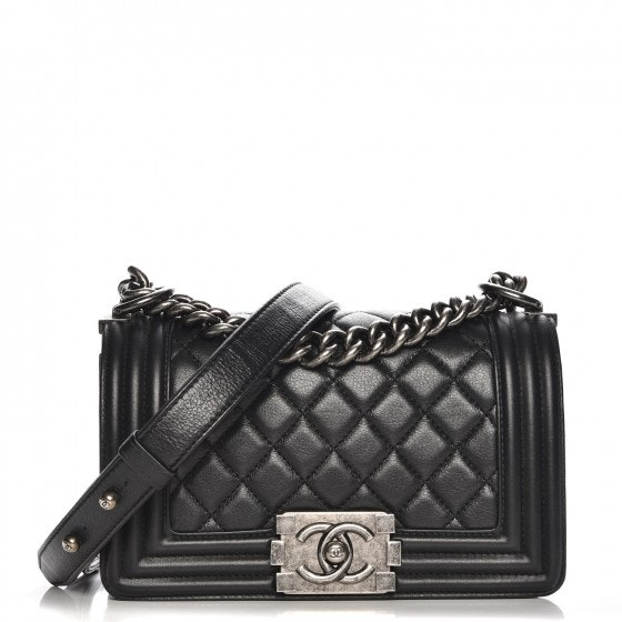 Chanel Boy Flap Quilted Diamond Small Black