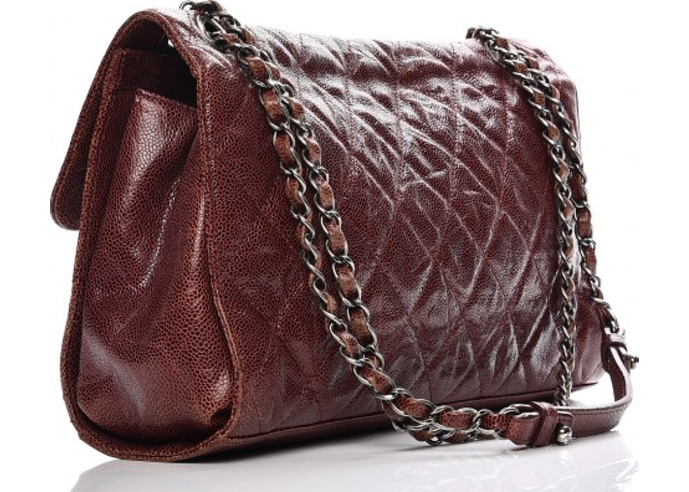 6a8cc7890997 Chanel CC Crave Flap Diamond Quilted Crumpled/Grained Jumbo Burgundy
