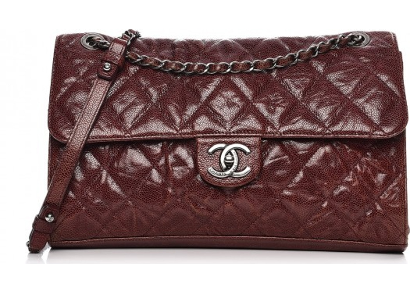 932bf7d8e788 Chanel CC Crave Flap Diamond Quilted Crumpled/Grained Jumbo Burgundy.  Diamond Quilted Crumpled/Grained Jumbo Burgundy