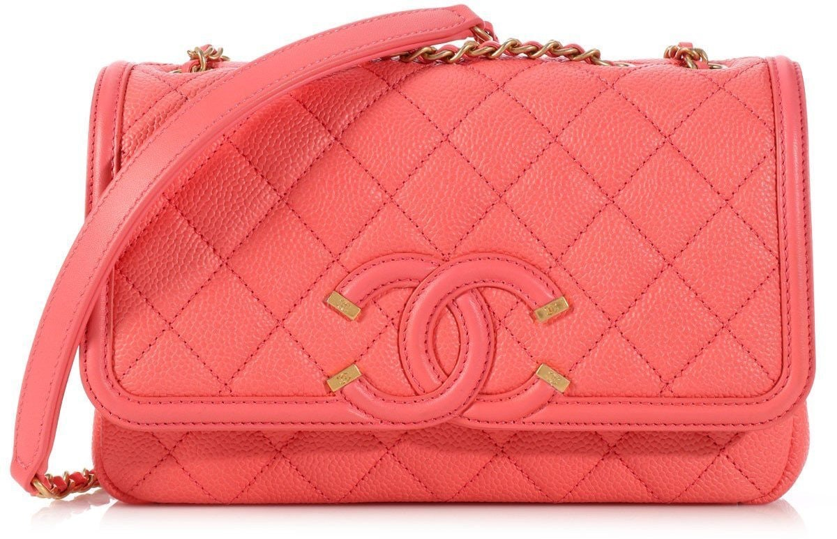 Chanel Flap Cc Filigree Quilted Small Coral