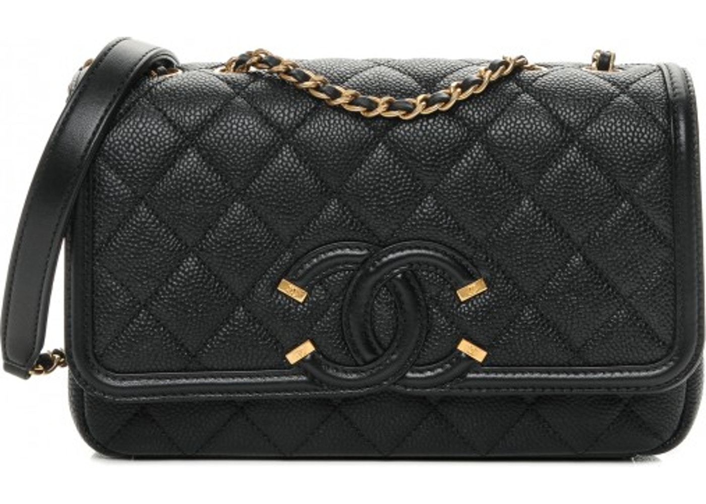 3ef261ff3fb5 Chanel Flap Cc Filigree Quilted Small Black