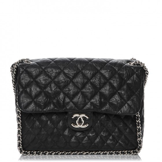 Chanel Flap Chain Around Quilted Aged Maxi Black