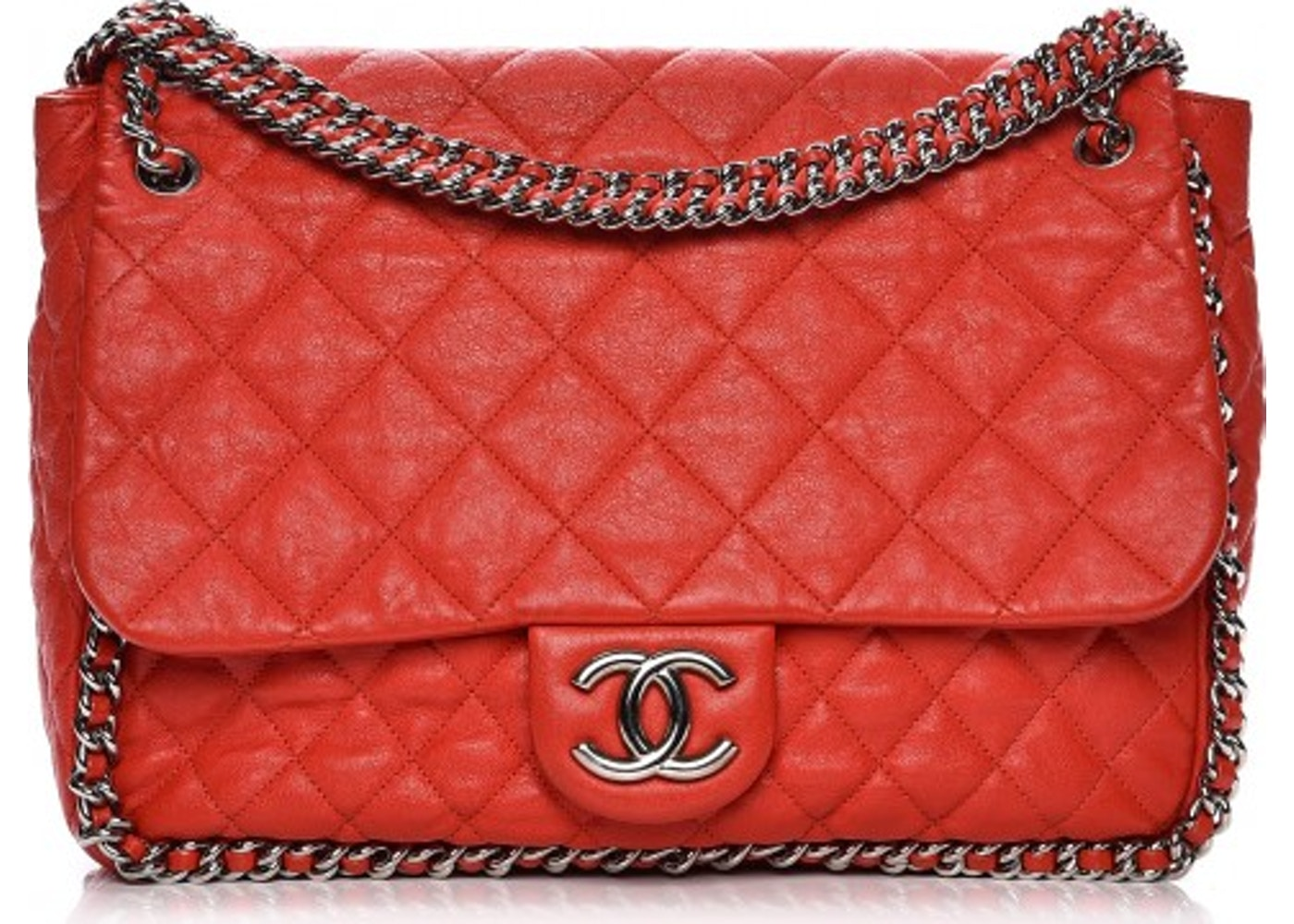 04ec4495a5e08c Chanel Flap Chain Around Quilted Washed Maxi Red
