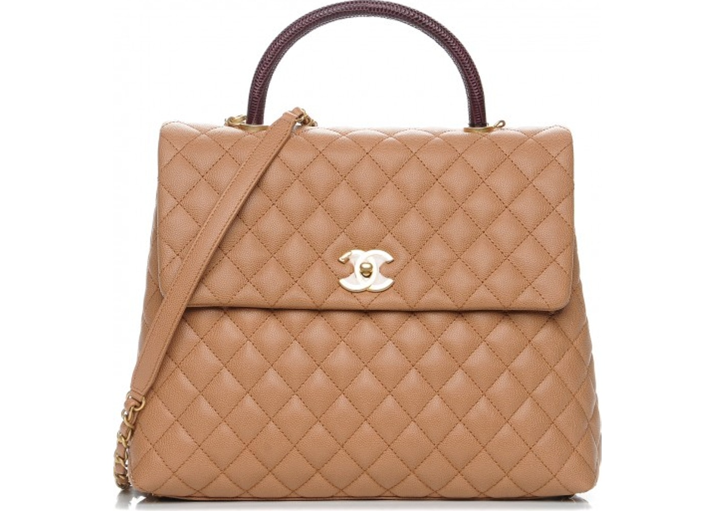 80bbfe288c82 Chanel Coco Handle Flap Quilted Diamond Large Beige. Quilted Diamond Large  Beige