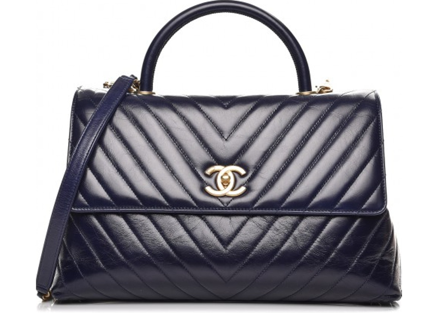 f1a3dee34233 Chanel Coco Handle Flap Quilted Chevron Large Dark Blue. Quilted Chevron  Large Dark Blue