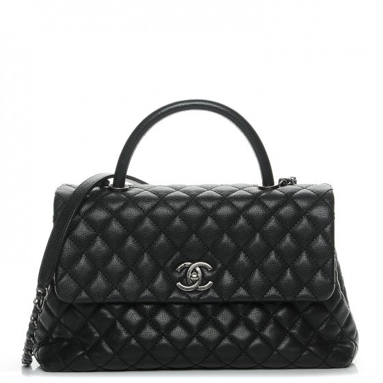 Chanel Coco Handle Flap Diamond Quilted Medium Black