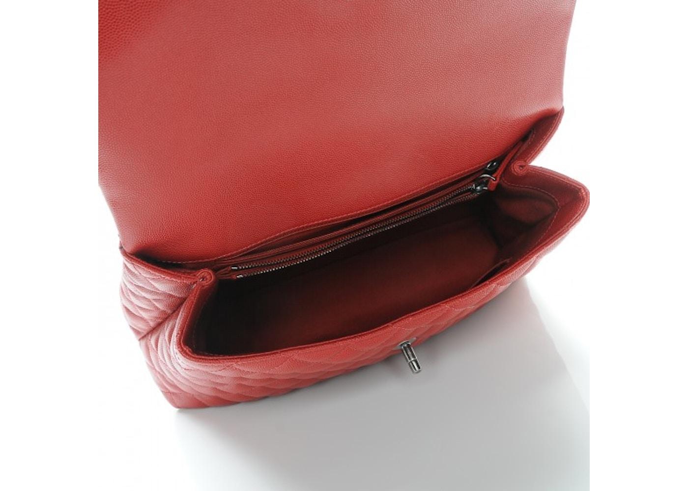 53b573206ae00a Chanel Coco Handle Flap Quilted Diamond Medium Dark Red