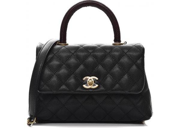 b4219b1a8fb4 Chanel Coco Handle Flap Quilted Diamond Mini Black/Burgundy