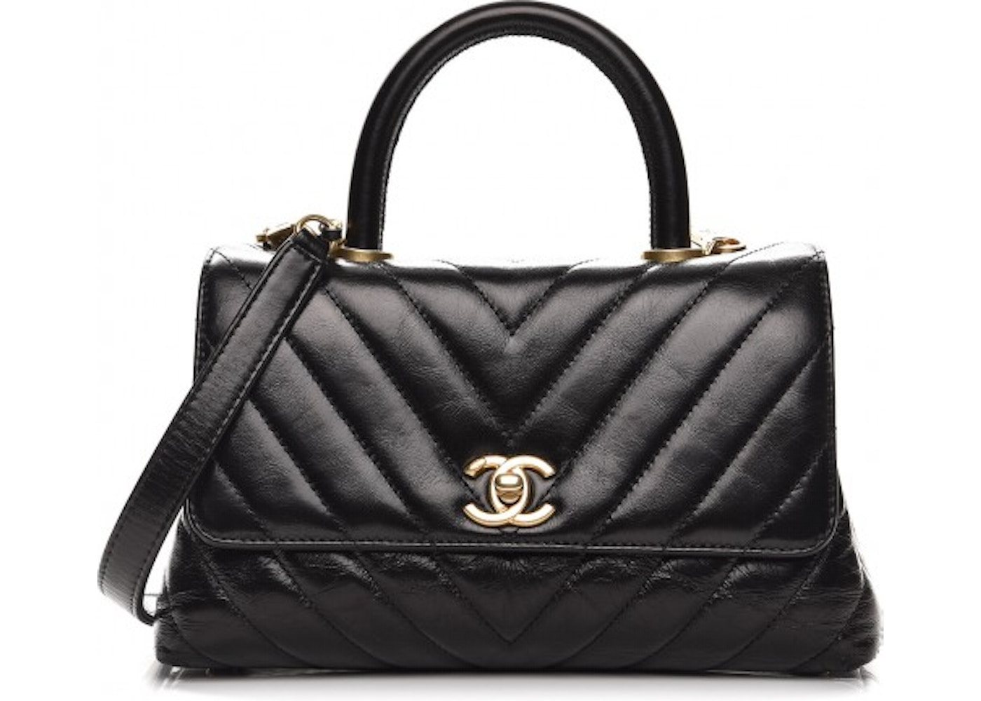 1bf39efc7e12d Chanel Coco Handle Flap Quilted Chevron Mini Black