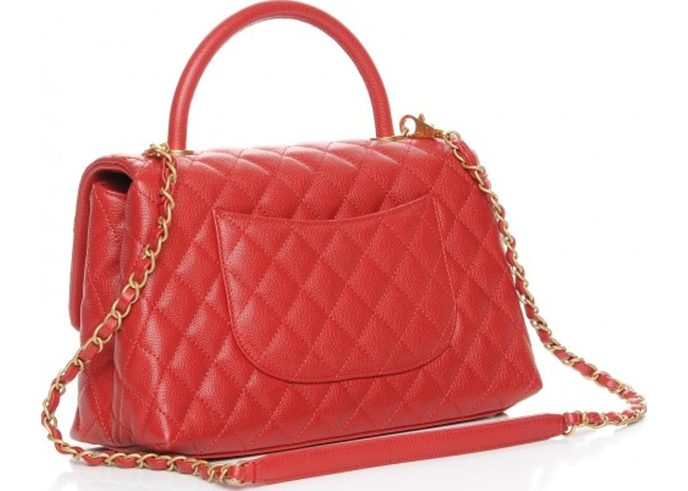 5d593c2c62b256 Chanel Coco Handle Flap Quilted Diamond Small Red