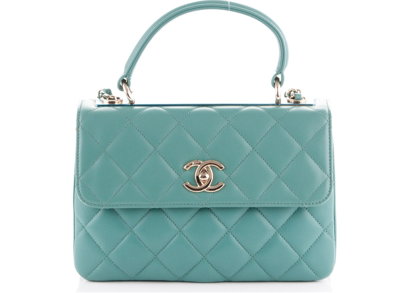 ab1f64e5c48c Chanel Dual Handle Flap Trendy CC Quilted Small Light Green