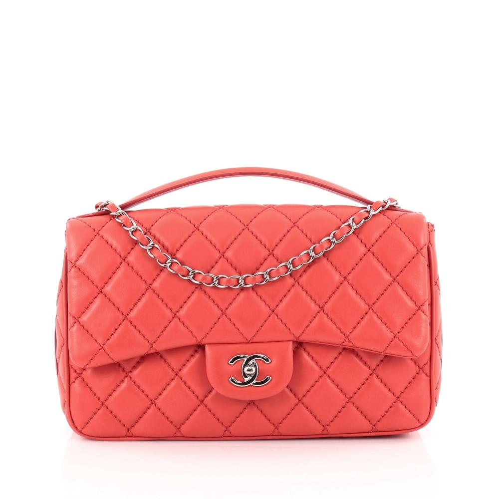 Chanel Easy Flap Quilted Diamond Jumbo Red
