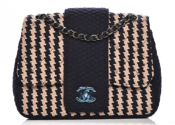 Chanel Elementary Chic Flap Small Dark Blue/Beige