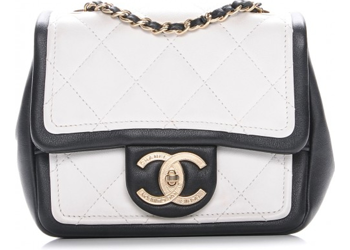 d4a0474af28229 Chanel Graphic Flap Quilted Diamond Mini White/Black. Quilted Diamond Mini  White/Black