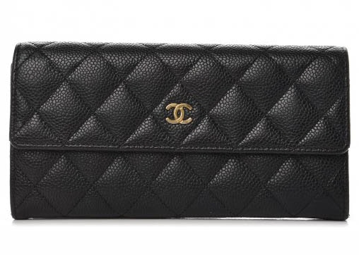 Chanel Flap Gusset Wallet Quilted Diamond Large Black