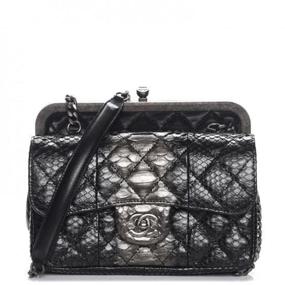 Chanel Kislock Tabatiere Clasp Flap Black