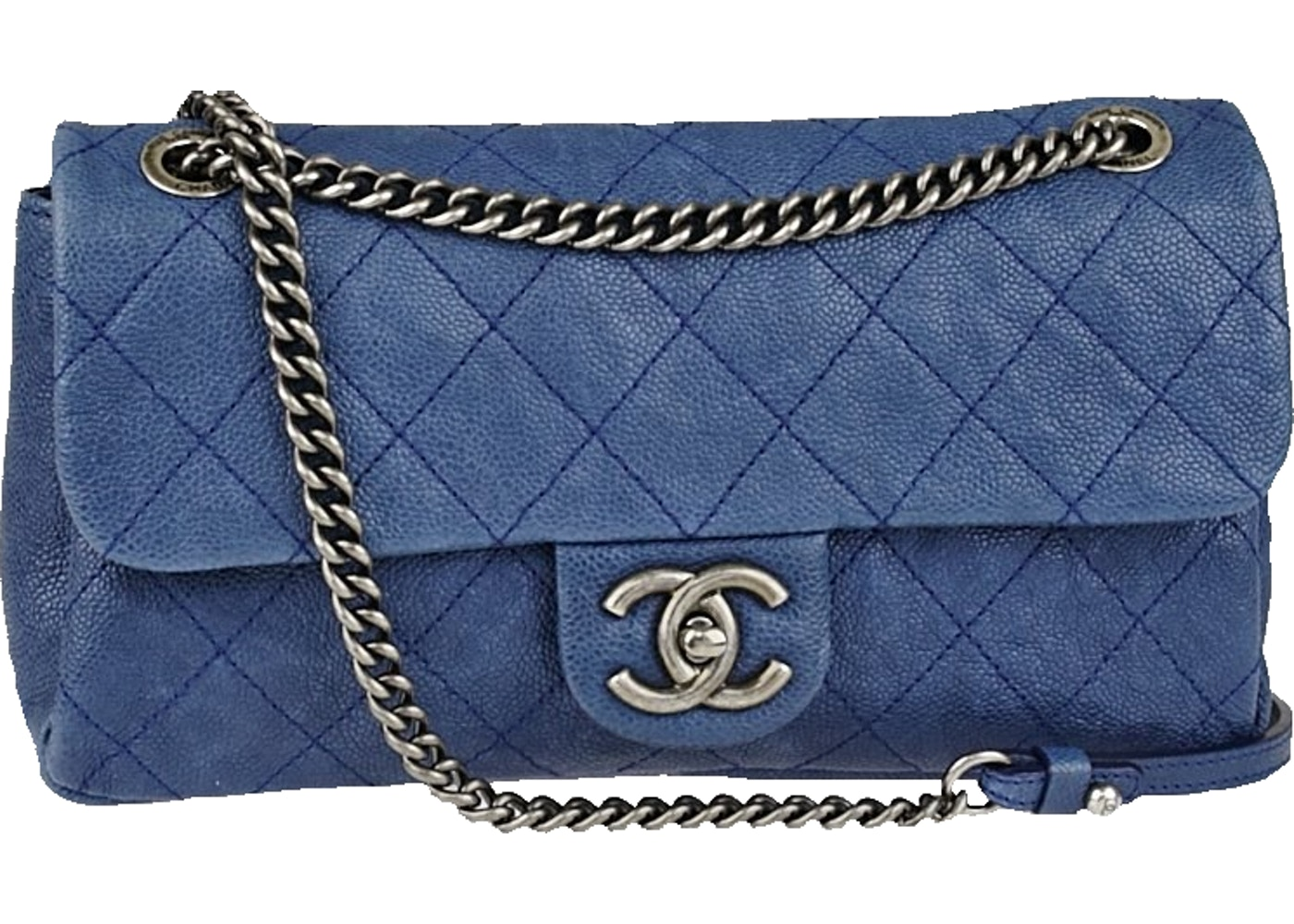 5cb7b7a2b6e7 Chanel Flap Lady Pearly Quilted Aged Medium Blue