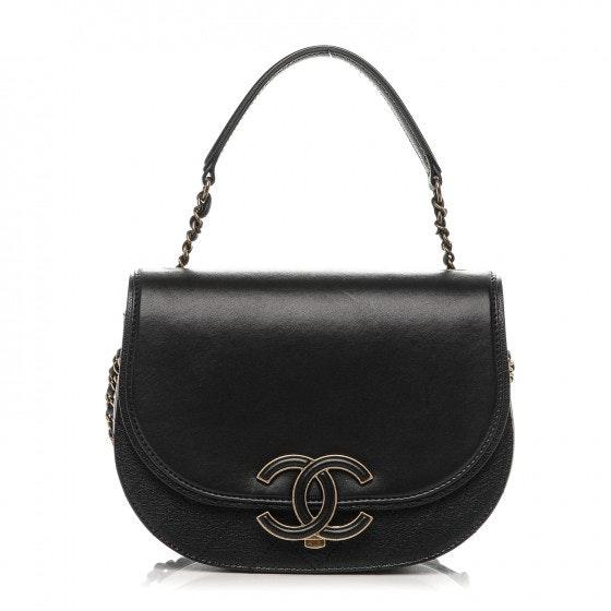 Chanel Coco Curve Flap Messenger Shiny Small Black