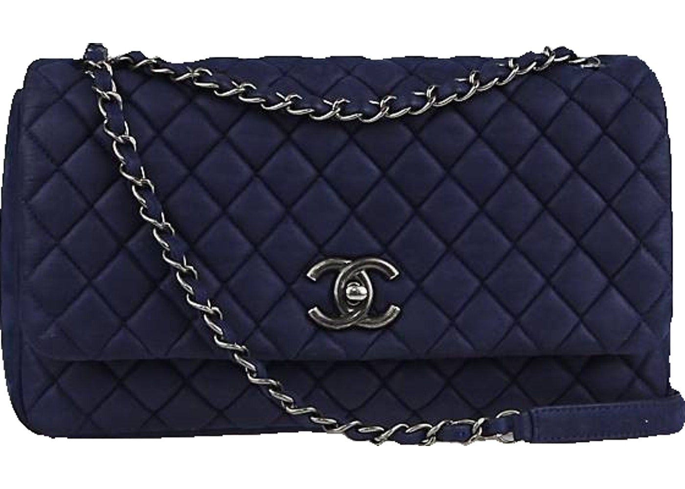 a7c92b8d82e4 Chanel Flap New Bubble Quilted Iridescent Large Navy Blue