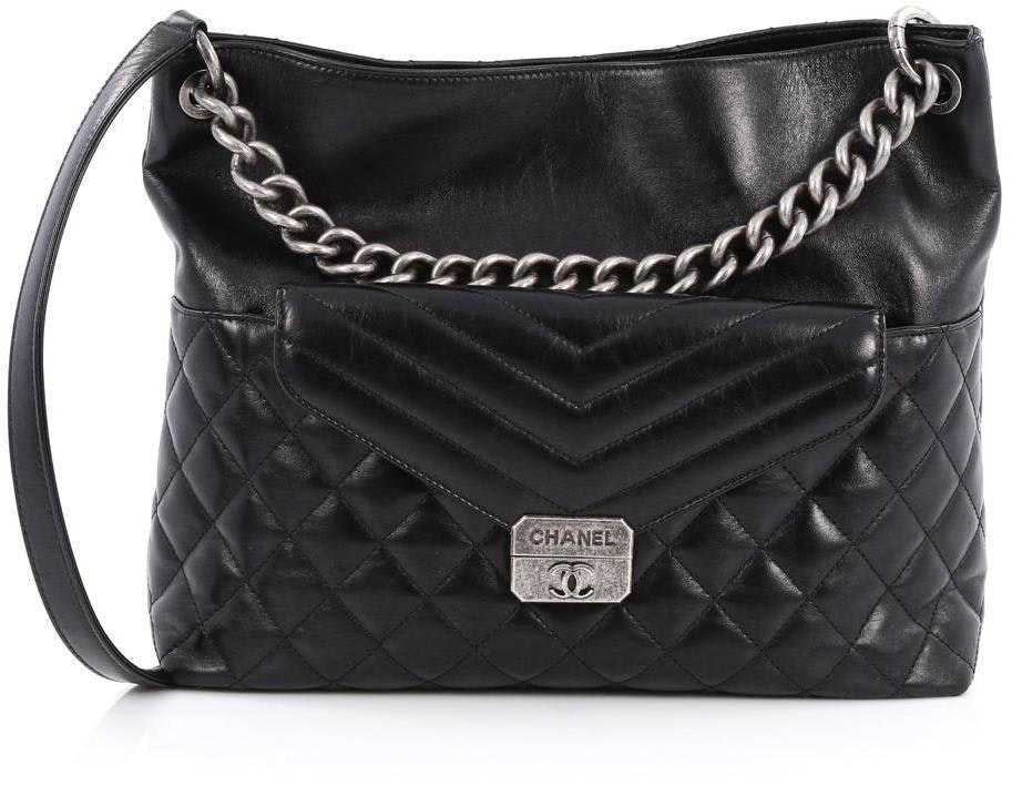 Chanel Flap Pocket Hobo Quilted Chevron Large Black