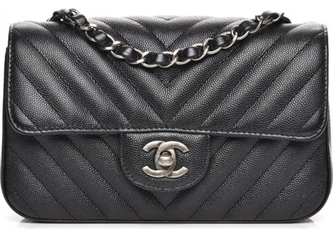 9011dfca0fcd54 Chanel Rectangular Flap Chevron Quilted Metallic Mini Black