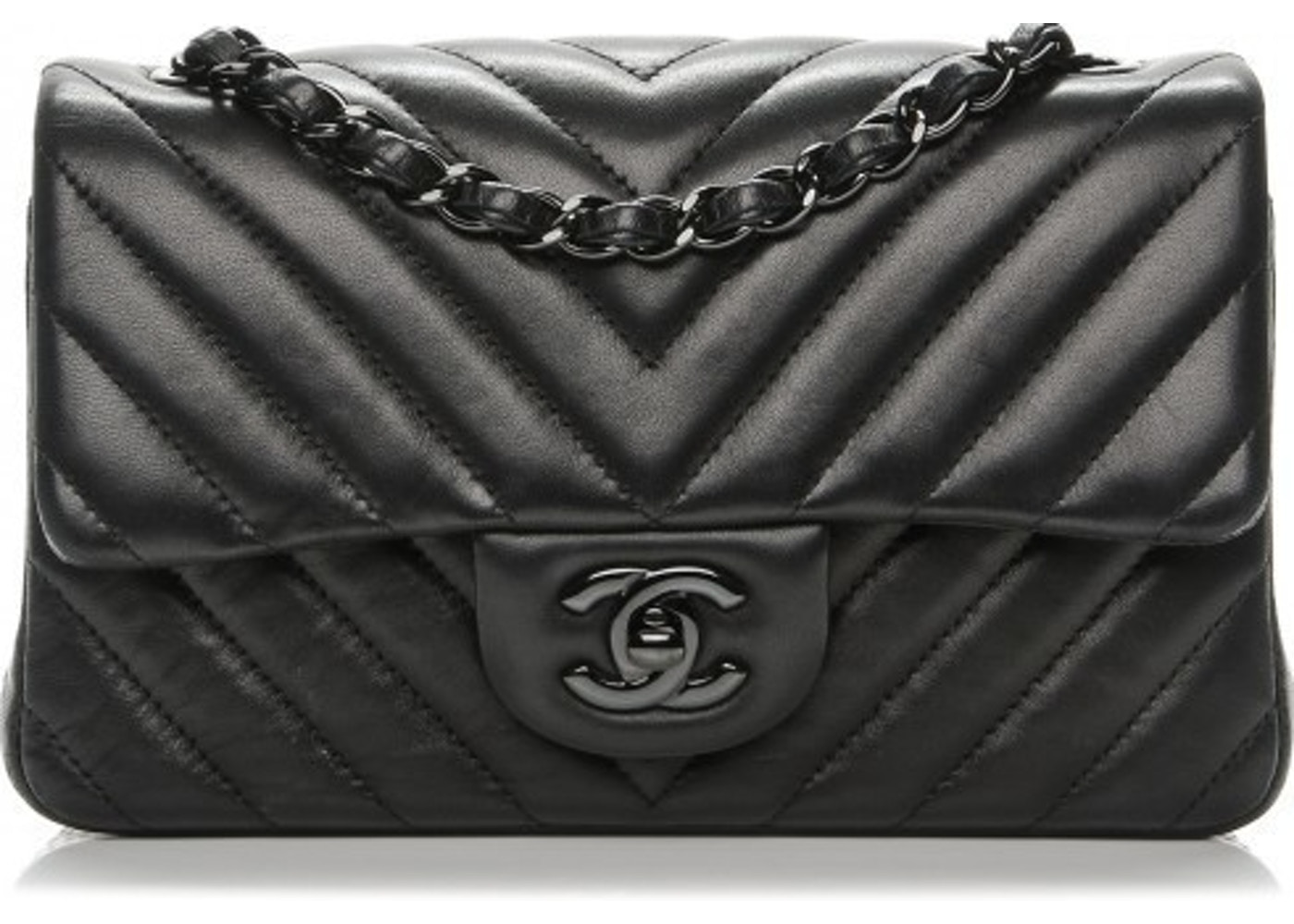 cb7c65dcdcde Chanel Rectangular Flap Chevron So Black Quilted Mini Black