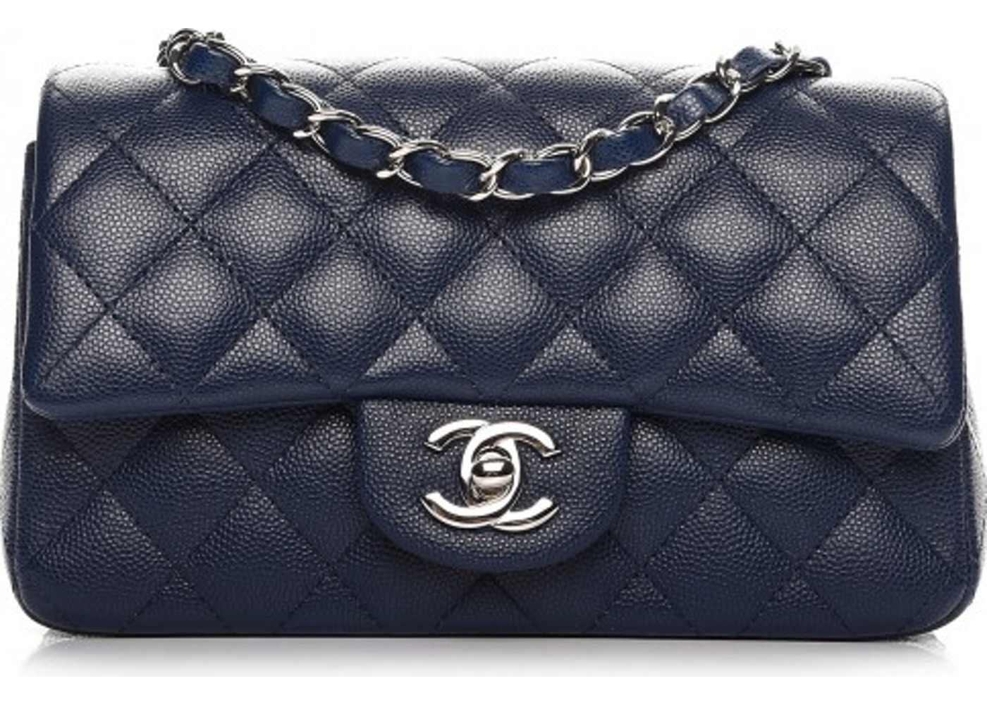 d8ec1a7340bb3d Chanel Rectangular Flap Quilted Diamond Mini Dark Blue. Quilted Diamond  Mini Dark Blue
