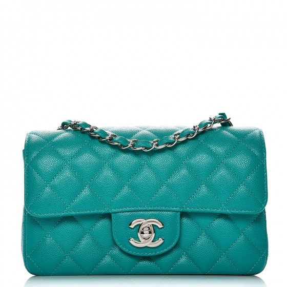 Chanel Rectangular Flap Diamond Quilted Mini Turquoise