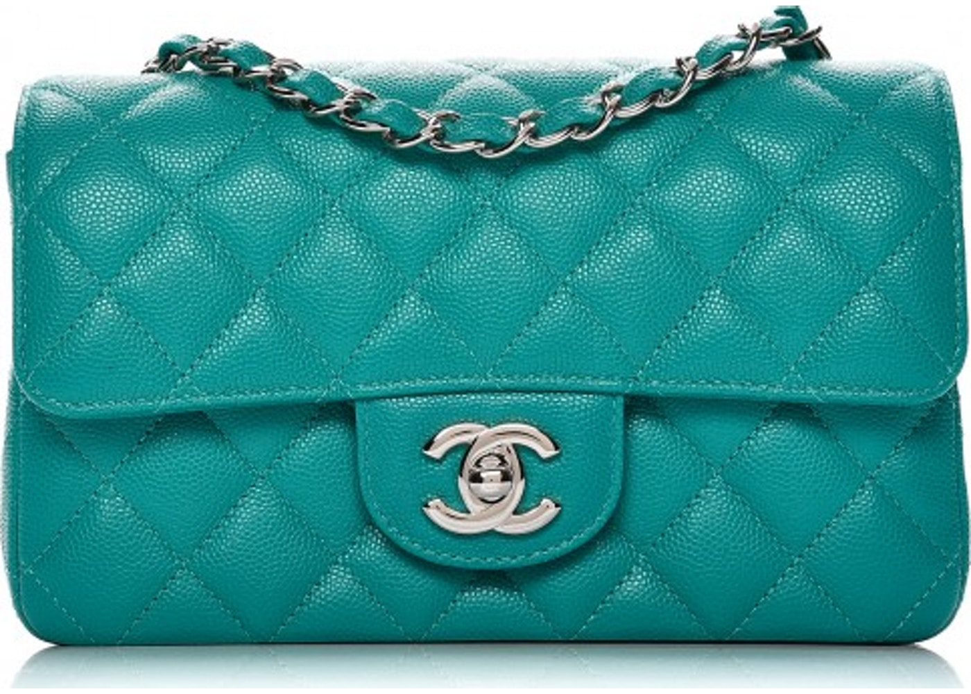 9b8034753286 Chanel Rectangular Flap Diamond Quilted Mini Turquoise
