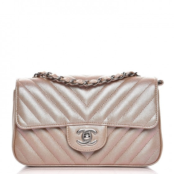 Chanel Rectangular Flap Quilted Chevron Iridescent Mini Light Gold