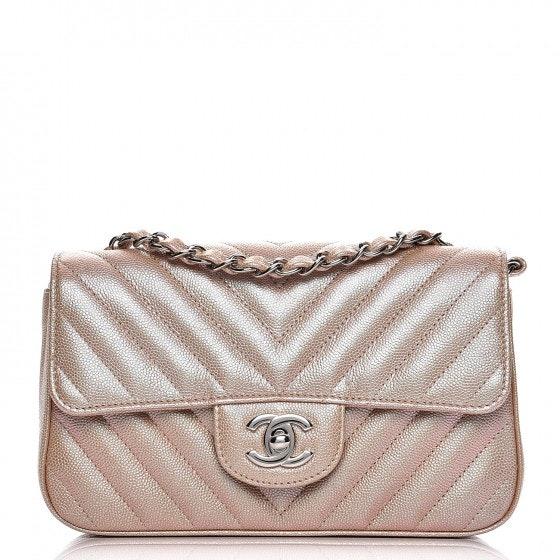 Chanel Rectangular Flap Quilted Chevron Iridescent Mini Light Gold