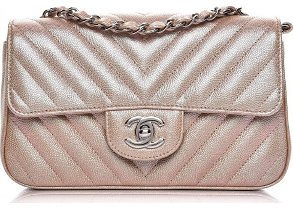 d55963896db7d0 Chanel Rectangular Flap Quilted Chevron Iridescent Mini Light Gold