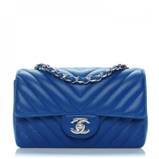 Chanel Rectangular Flap Chevron Quilted Mini Blue