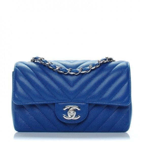 Chanel Rectangular Flap Chevron Quilted Mini Blue