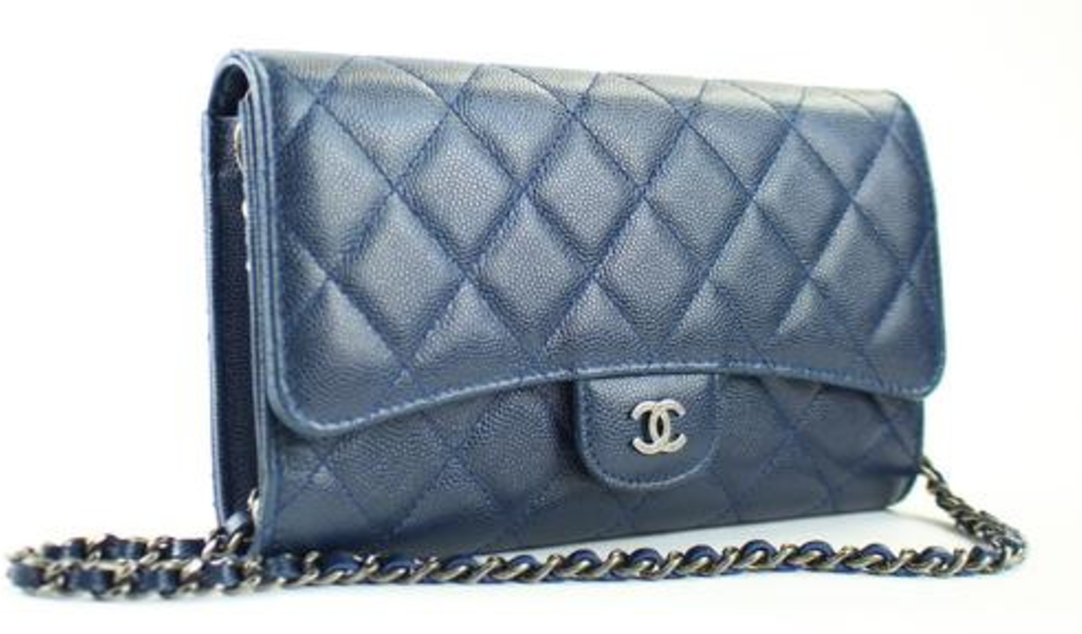 Chanel Flap Set Clutch Quilted Blue