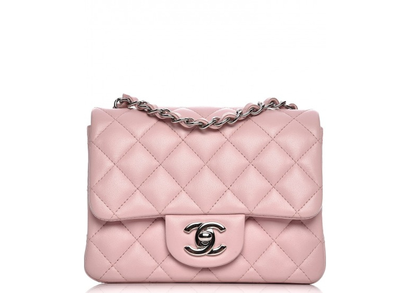 01b32c7e Chanel Square Flap Quilted Diamond Mini Light Pink