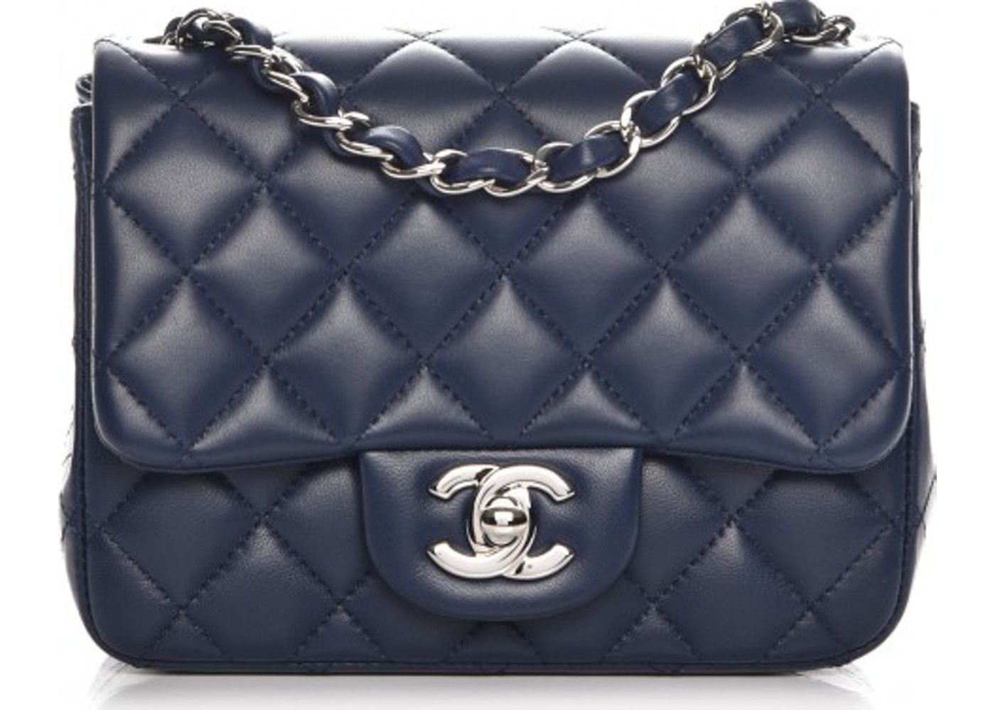 19418fbc3e8aa8 Chanel Square Flap Quilted Diamond Mini Navy Blue