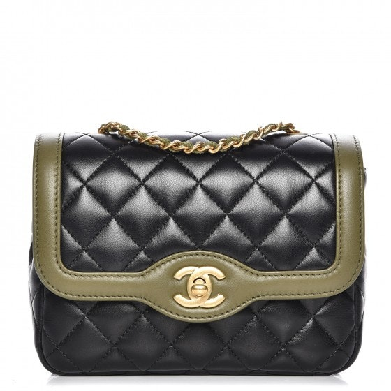 Chanel Square Flap Quilted Diamond Two Tone Mini Black/Khaki