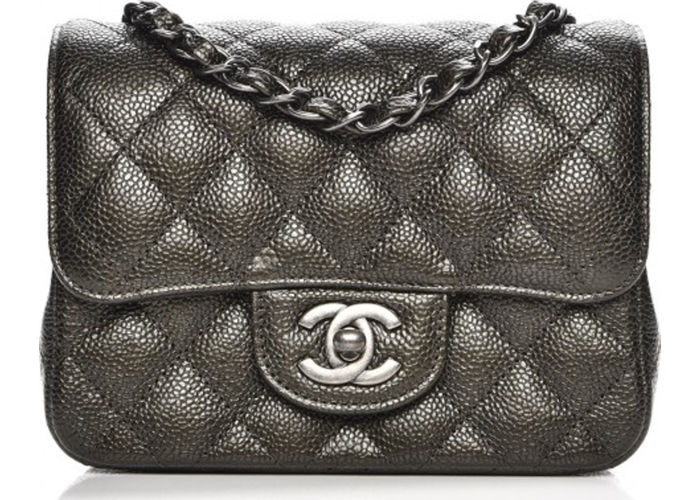 3b871ccb640d41 Chanel Square Flap Quilted Diamond Metallic Mini Dark Charcoal. Quilted  Diamond Metallic Mini Dark Charcoal