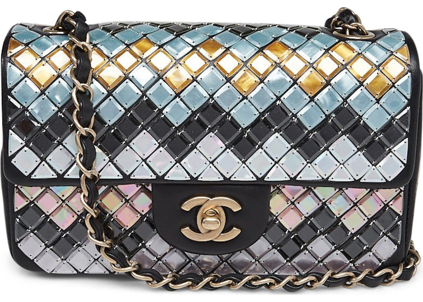 8548879fa9d3 Chanel Timeless Classic Flap Mosaic Embroidered New Mini Black ...