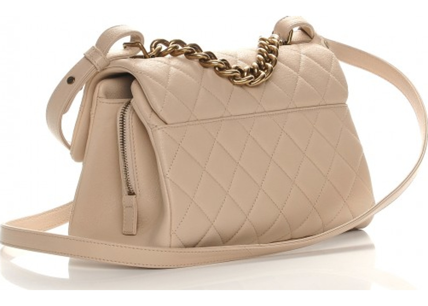 ac3fdf439073 Chanel Trapezio Flap Bag Quilted Shine Small Beige