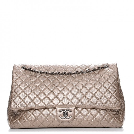 Chanel Travel Flap Quilted Metallic XXL Gold