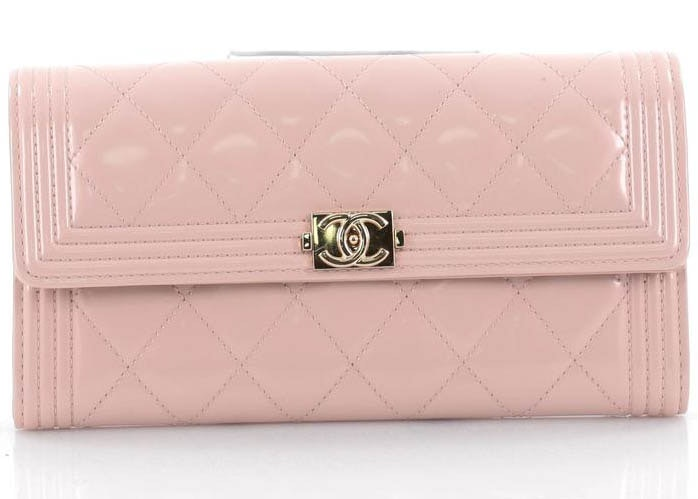 Chanel Boy Flap Wallet Quilted Diamond Long Light Pink